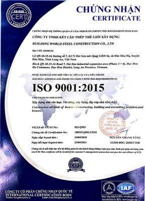 chứng nhận iso công ty nhà thép tiền chế worldsteel
